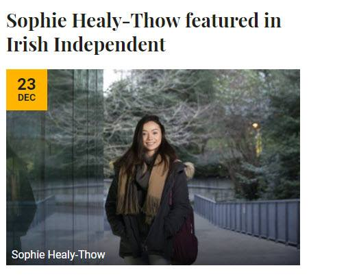 Sophie Healy-Thow Features in the Irish Independant